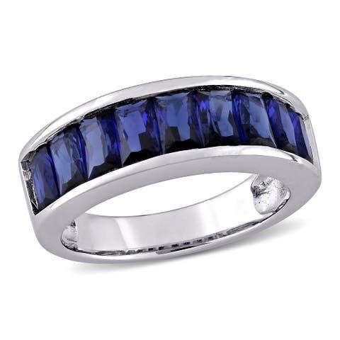 Miadora Sterling Silver Baguette-cut Created Blue Sapphire Semi-Eternity Anniversary Band Ring
