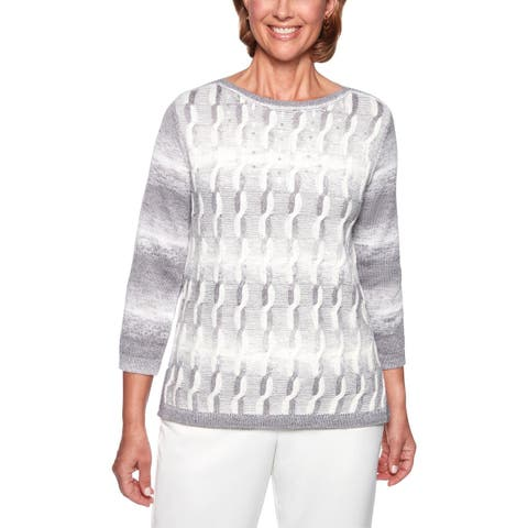 Alfred Dunner Womens Petites Pullover Sweater Space Dye Embellished - PXL