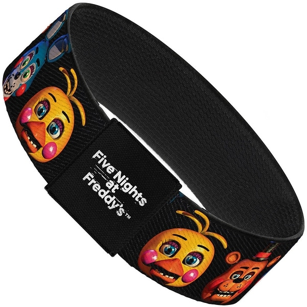 "Toy Freddy Bonnie Chica Heads Repeat Black Elastic Bracelet 1.0"" Wide"