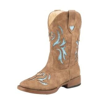 Roper Western Boots Girls Glitter Breeze Tan 09-018-1901-1549 TA