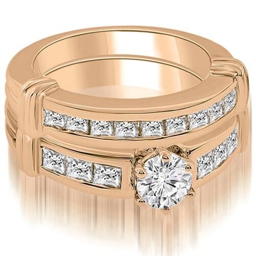 2.15 cttw. 14K Rose Gold Vintage Round Cut Diamond Bridal Set