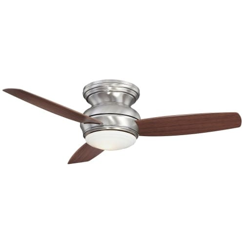 """MinkaAire Traditional Concept 44 3 Blade 44"""" Flush Mount Indoor/Outdoor Ceiling Fan with Blades and Integrated 1 Bulb Light Kit"""