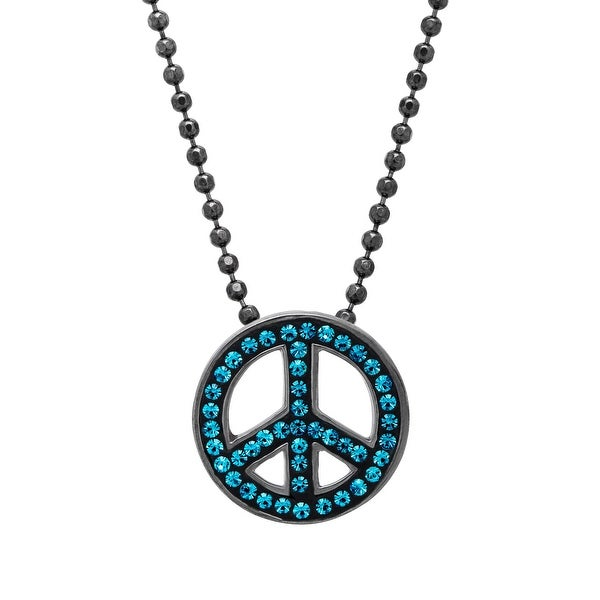 Crystaluxe Peace Pendant with Indicolite Swarovski elements Crystals in Oxidized Sterling Silver