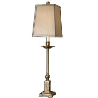 "34"" Aged Bronze and Crushed Silken Champagne Candlestick Buffet Table Lamp"