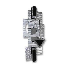 Statements2000 Black / Silver 37-inch Abstract Metal Wall Clock - Dynamic Notions II