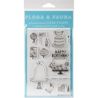 "Flora & Fauna Clear Stamps 4""X6""-Birthday"