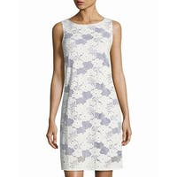 TASH + SOPHIE White Women's 8 Sleeveless Floral Lace Shift Dress