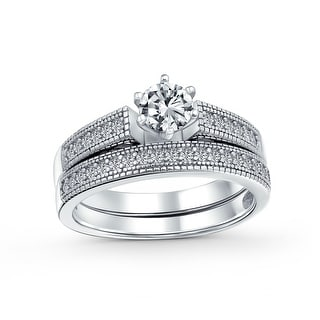 Link to 1.5CT Solitaire 6 Prong CZ Engagement Wedding Ring Set Sterling Silver Similar Items in Rings