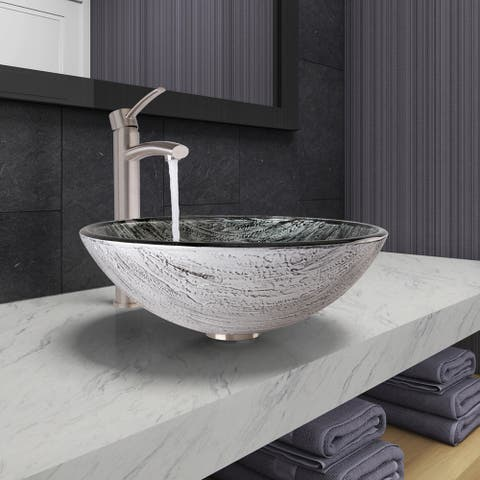 VIGO Titanium Glass Vessel Bathroom Sink and Milo Vessel Faucet Set