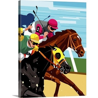 """""""Horse race, side view"""" Canvas Wall Art"""