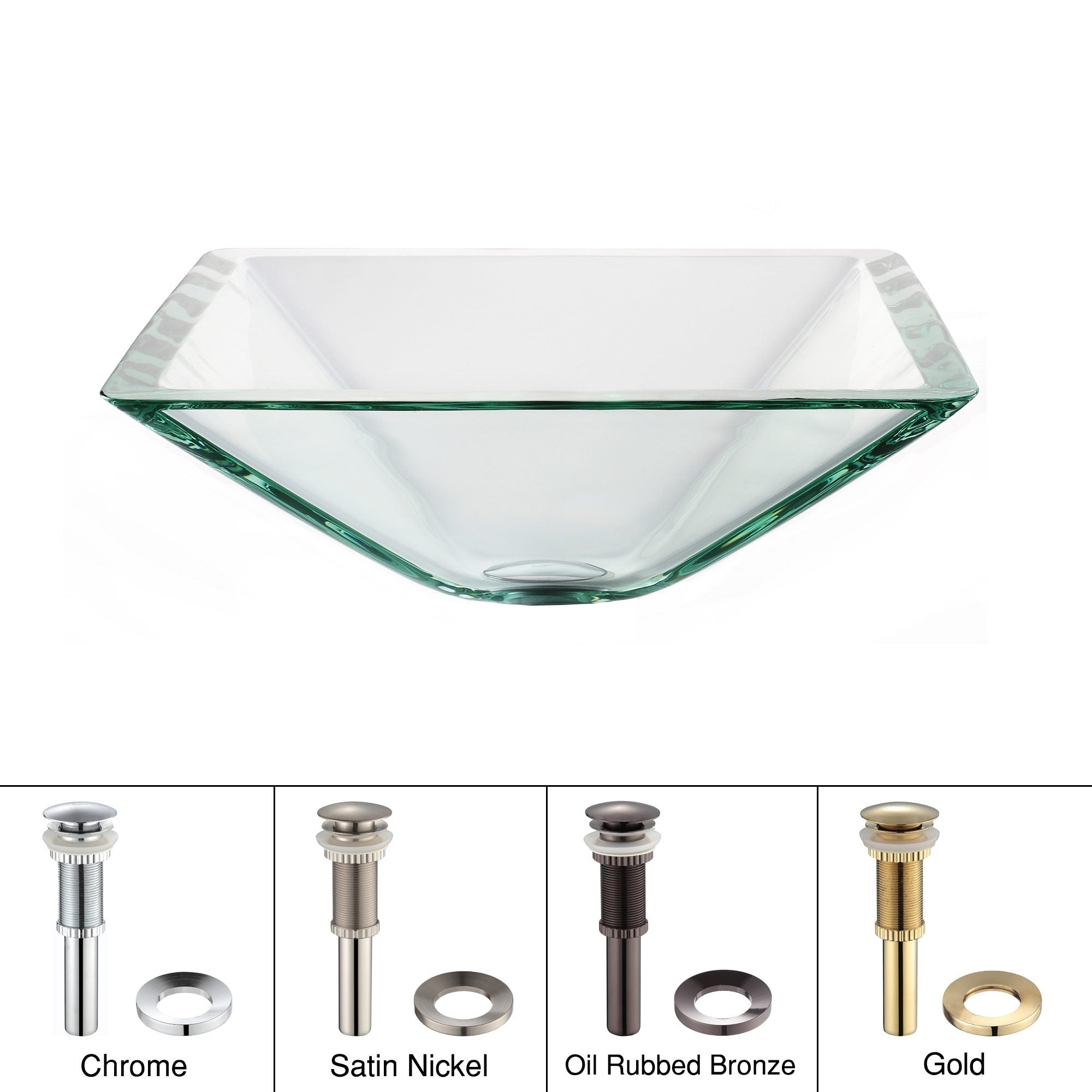 KRAUS Clear Square Glass Vessel Bathroom Sink. Opens flyout.