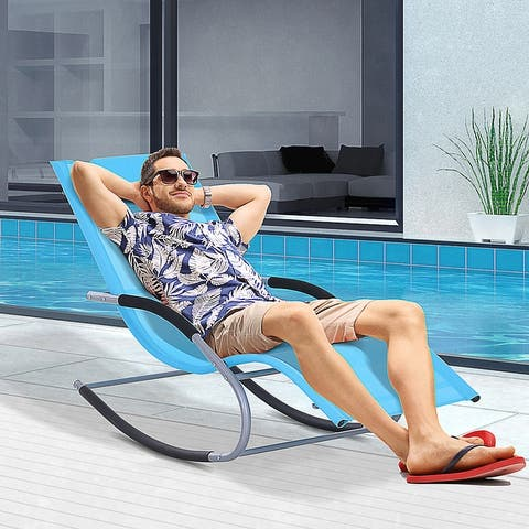 Outsunny Chaise Rocker Patio Lounge Chairs with Recliner w/ Detachable Pillow & Durable Weather-Fighting Fabric, Blue