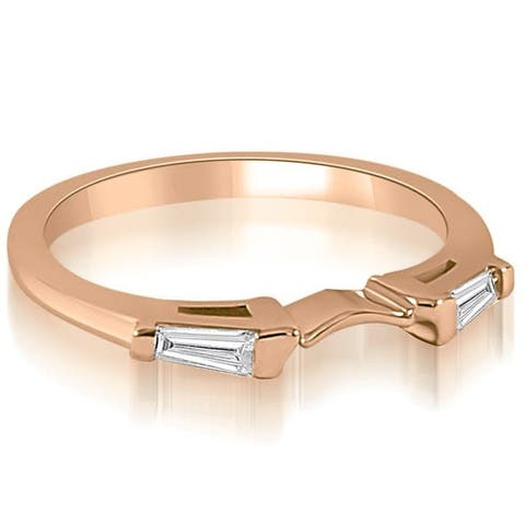 0.15 cttw. 14K Rose Gold Curve Bar Set Baguette Diamond Wedding Ring