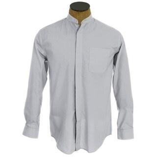 Men's Collarless Banded Collar Dress Shirt