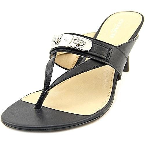 Coach Olina Women Open Toe Leather Black Sandals