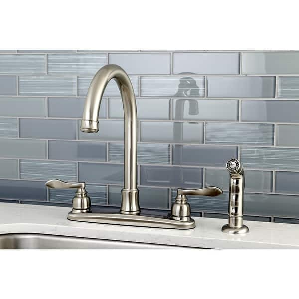 Shop Nuwave French 8 Inch Centerset Kitchen Faucet With Sprayer In Brushed Nickel Overstock 32403252