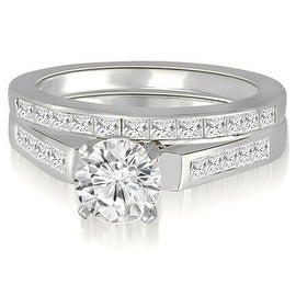 1.85 cttw. 14K White Gold Round And Princess Cathedral Diamond Bridal Set