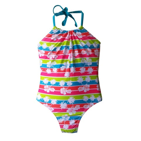 Girls One Piece Halter Tie Green/Pink/Blue/Orange Stripe w/Flowers