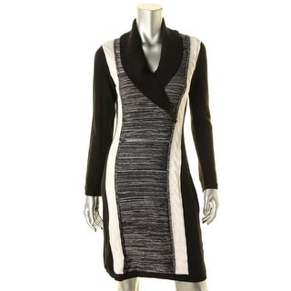 Calvin Klein Womens Cable Knit Colorblocked Sweaterdress