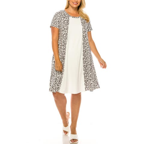 Women's Solid Pattern Color Block Plus Size Casual Dress Made in USA