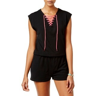 Material Girl Womens Romper Knit Lace-Up