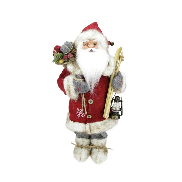 "18"" Bundled Up Standing Santa Claus Christmas Figure with Skis and Lantern - RED"