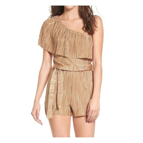 Mimi Chica Gold Womens Size Large L One-Shoulder Plisse Romper