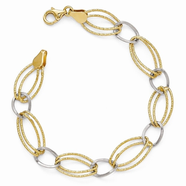 Italian Sterling Silver Gold-tone Flash 18k Plated Link Bracelet - 7 inches