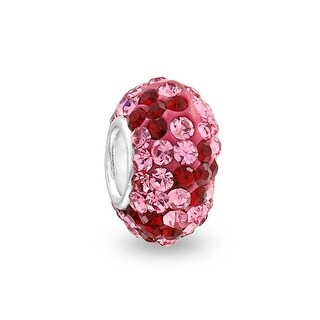 Bling Jewelry 925 Silver Imitation Ruby Crystal Flower Bead Charm
