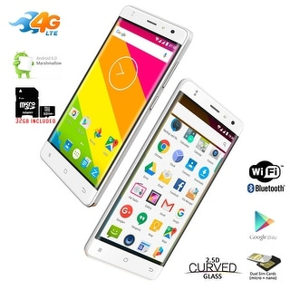 """Indigi 4G LTE GSM Unlocked Curved 5"""" Display Android 6.0 DualSim SmartPhone + 32gb - White"""