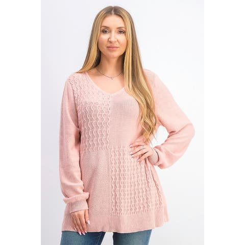 Karen Scott Women's Cotton Mixed-Stitch Sweater Pink Size Large