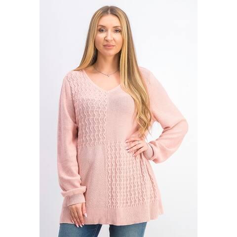 Karen Scott Women's Cotton Mixed-Stitch Sweater Pink Size XX-Large