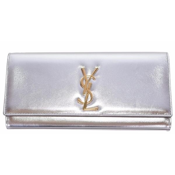 "Saint Laurent YSL Silver Metallic Leather Monogram Logo Cassandre Clutch - 11"" x 6"" x 2"""