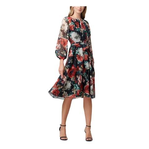 TAHARI Black Pouf Knee Length Fit + Flare Dress Size 16