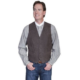 Scully Western Vest Mens Lambskin Button Front Chocolate 503-63