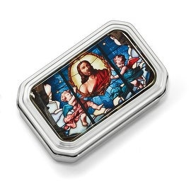 Silvertone Jesus with Angel Enamel Rosary Tin