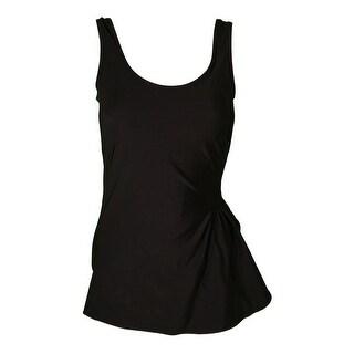 Womens Black Front Sarong One Piece Swim Dress 8-16 Misses