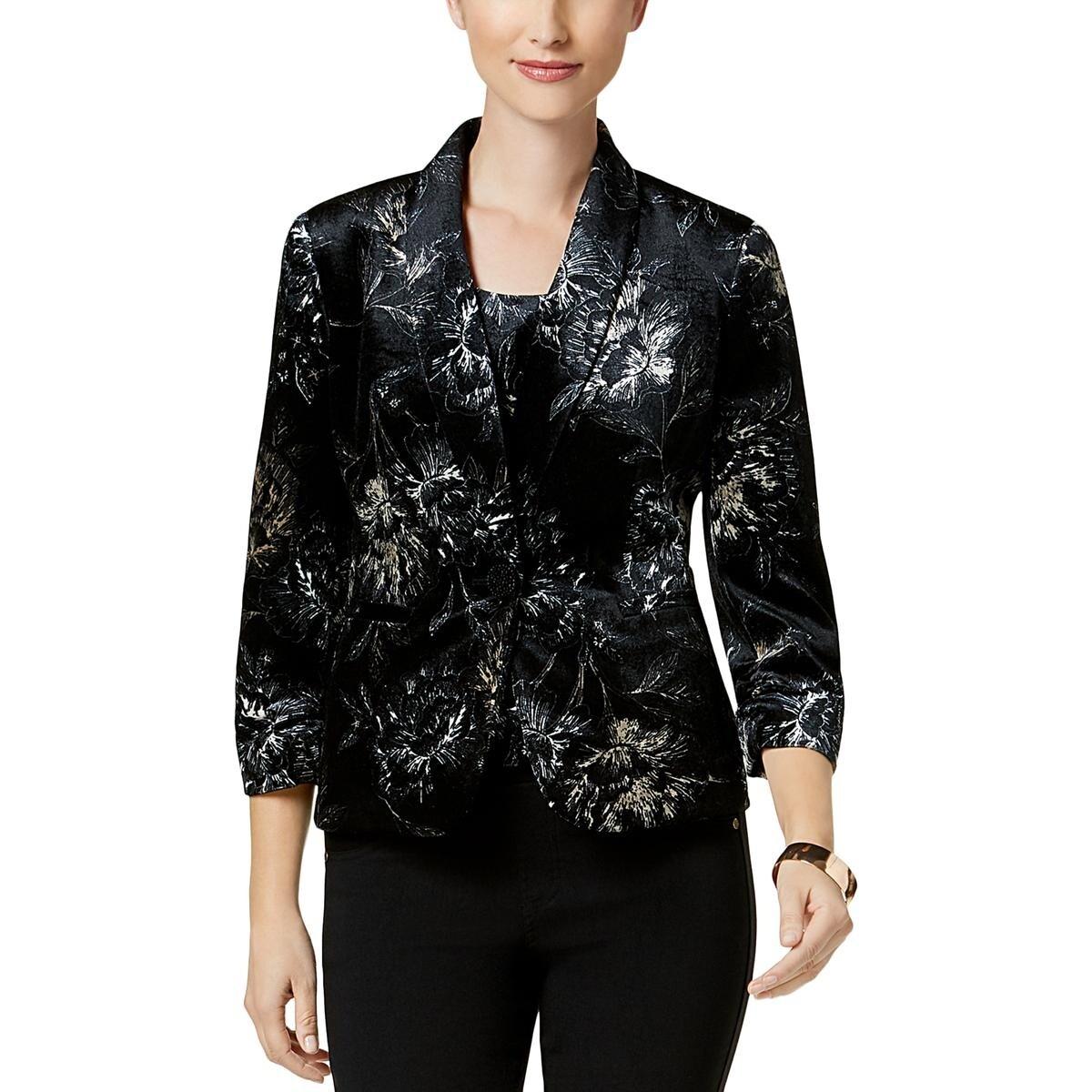 14, Black Multi Kasper Women/'s Velvet Floral-Print Blazer