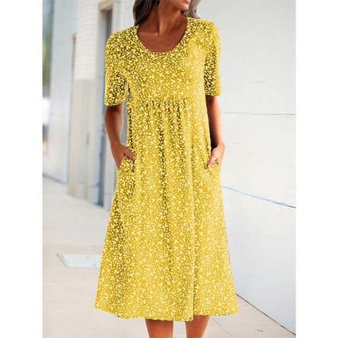 Women Summer Plus Size Floral Pockets Midi Short Sleeve H-Lined Shift Dress