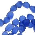 Cultured Sea Glass, Small Nugget Beads 8-16mm, 7 Pieces, Sapphire Blue - Thumbnail 0