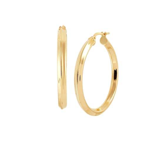 Italian-Made 40 mm Knife-Edge Hoop Earrings in 18K Gold-Plated Bronze - Yellow