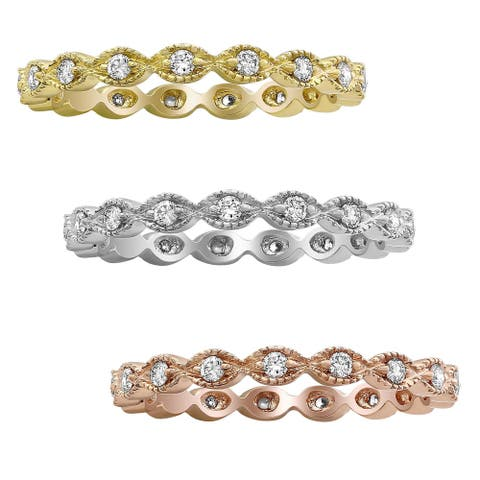 10K Gold 1/4ct TDW Diamond Vintage Eternity Band Ring by Beverly Hills Charm