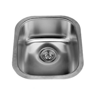 """Miseno MSS2118C 16-1/8"""" Undermount Single Basin Stainless Steel Kitchen / Bar Sink - Steel Drain Assembly Included"""