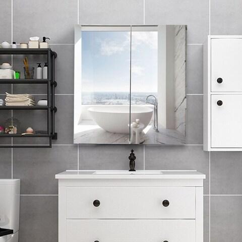 Gymax 24'' Wide Wall Mount Mirrored Bathroom Medicine Storage Cabinet 2 Mirror Door New
