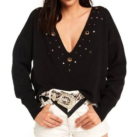 WILDFOX Black Women Size Large L V-Neck Embellished Grommet Sweater