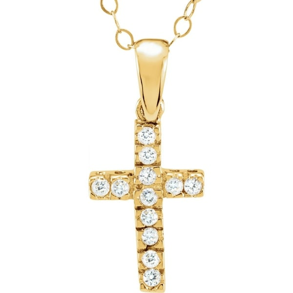 Curata 14k Yellow Gold 12x8mm Round Cubic Zirconia Polished Childrens CZ Religious Faith Cross Necklace. Opens flyout.