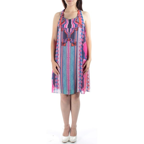 Womens Blue, Pink Printed Sleeveless Above The Knee Shift Dress Size: 9