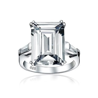 Link to 10CT Solitaire AAA CZ Emerald Cut Engagement Ring 925 Sterling Silver Similar Items in Rings