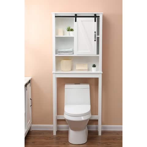 Farmhouse White MDF Over-the-Toilet Space Saver Cabinet