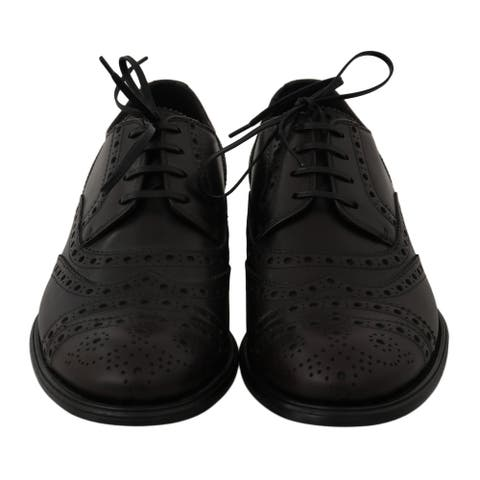 Dolce & Gabbana Black Leather Wingtip Oxford Dress Men's Shoes